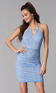 Image of periwinkle blue lace short cocktail party dress. Style: MY-5078MW1C Front Image