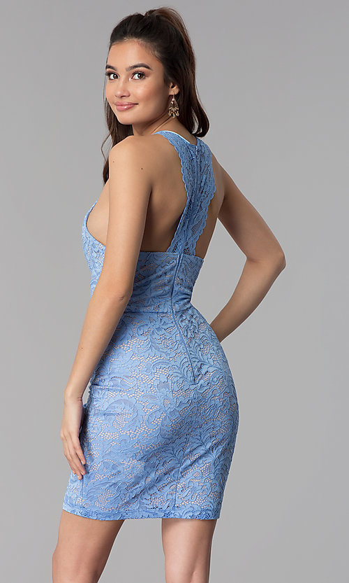 Image of periwinkle blue lace short cocktail party dress. Style: MY-5078MW1C Back Image
