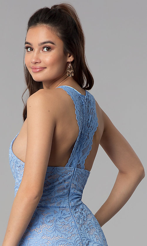 Image of periwinkle blue lace short cocktail party dress. Style: MY-5078MW1C Detail Image 2