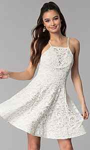 Image of short ivory white lace party dress for graduation. Style: MY-5134HP1C Front Image