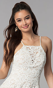Image of short ivory white lace party dress for graduation. Style: MY-5134HP1C Detail Image 1