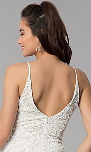 Image of short ivory white lace party dress for graduation. Style: MY-5134HP1C Detail Image 2