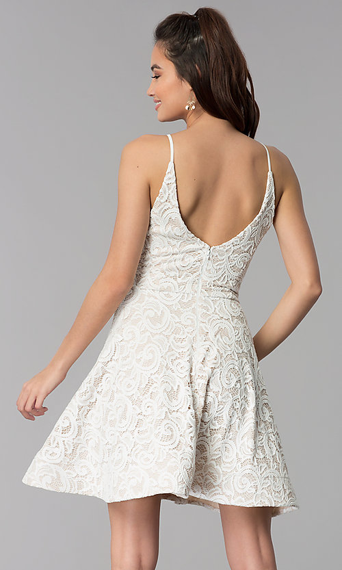 Image of short ivory white lace party dress for graduation. Style: MY-5134HP1C Back Image