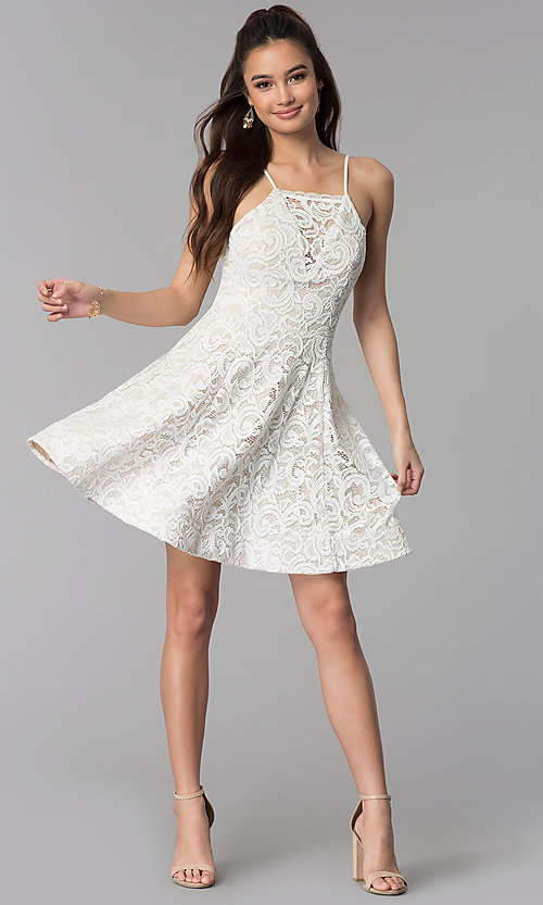 Image of short ivory white lace party dress for graduation. Style: MY-5134HP1C Detail Image 3