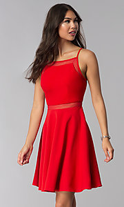 Image of short red wedding-guest dress with illusion waist. Style: DMO-J321417 Front Image