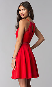 Image of short red wedding-guest dress with illusion waist. Style: DMO-J321417 Back Image