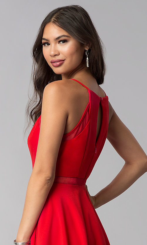 Image of short red wedding-guest dress with illusion waist. Style: DMO-J321417 Detail Image 2