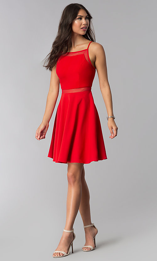 Image of short red wedding-guest dress with illusion waist. Style: DMO-J321417 Detail Image 3