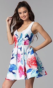 Image of floral-print v-neck short satin party dress. Style: DMO-J321577 Front Image