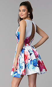 Image of floral-print v-neck short satin party dress. Style: DMO-J321577 Back Image