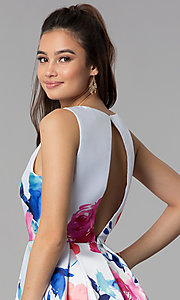 Image of floral-print v-neck short satin party dress. Style: DMO-J321577 Detail Image 2