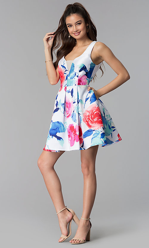 Image of floral-print v-neck short satin party dress. Style: DMO-J321577 Detail Image 3