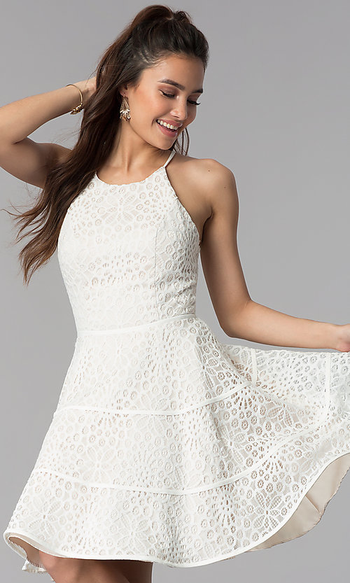 Image of graduation party a-line short white lace dress. Style: DMO-J320507 Front Image