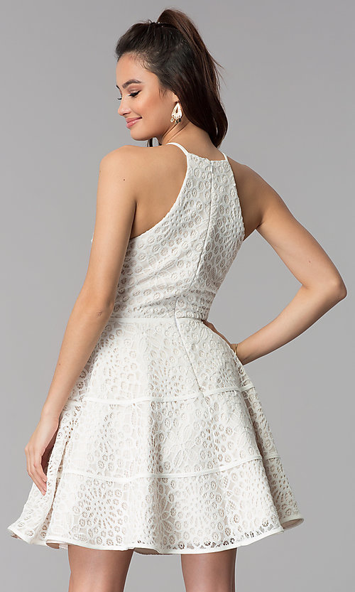 Image of graduation party a-line short white lace dress. Style: DMO-J320507 Back Image
