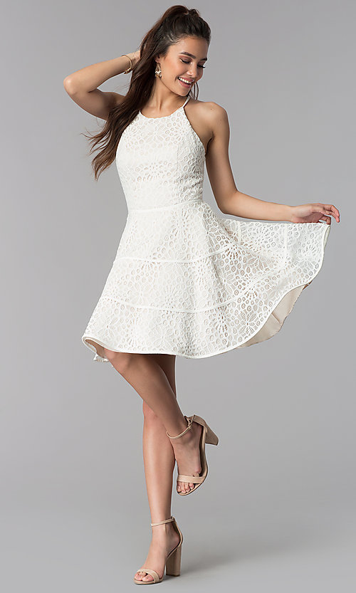 Image of graduation party a-line short white lace dress. Style: DMO-J320507 Detail Image 2