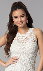 Image of short empire-waist grad party dress in ivory lace. Style: MY-2129ZY1C Detail Image 1