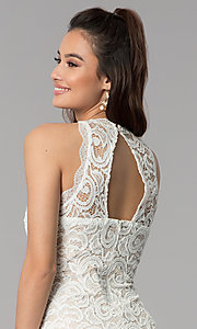 Image of short empire-waist grad party dress in ivory lace. Style: MY-2129ZY1C Detail Image 2