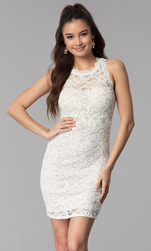 Image of short empire-waist grad party dress in ivory lace. Style: MY-2129ZY1C Front Image