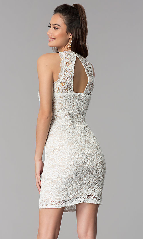 Image of short empire-waist grad party dress in ivory lace. Style: MY-2129ZY1C Back Image
