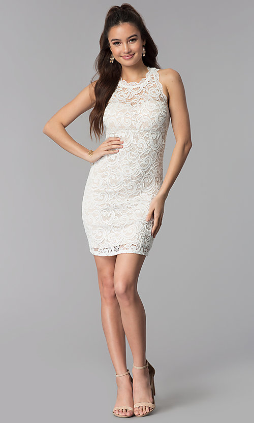 Image of short empire-waist grad party dress in ivory lace. Style: MY-2129ZY1C Detail Image 3