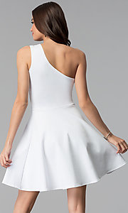 Image of white short one-shoulder graduation dress. Style: CH-2911W Back Image