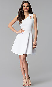 Image of white short one-shoulder graduation dress. Style: CH-2911W Detail Image 3