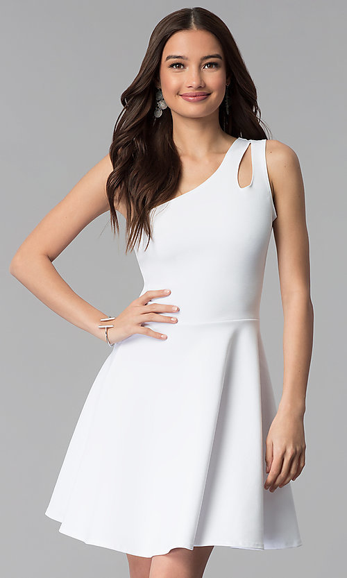 Image of white short one-shoulder graduation dress. Style: CH-2911W Front Image