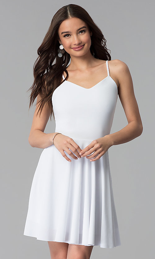 Image of v-neck caged-back short white graduation dress. Style: CH-2790W Front Image