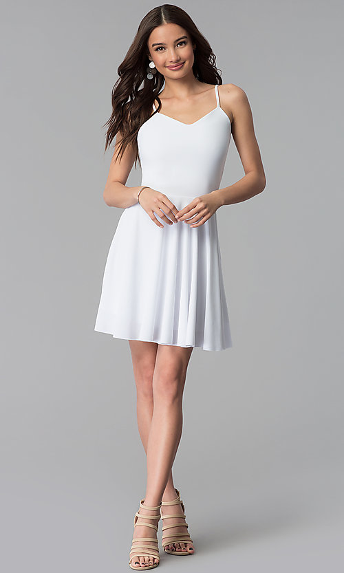 Image of v-neck caged-back short white graduation dress. Style: CH-2790W Detail Image 3