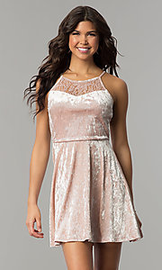 Image of mauve pink velvet short wedding-guest party dress. Style: AS-A7616449 Front Image
