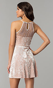 Image of mauve pink velvet short wedding-guest party dress. Style: AS-A7616449 Back Image