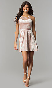 Image of mauve pink velvet short wedding-guest party dress. Style: AS-A7616449 Detail Image 2