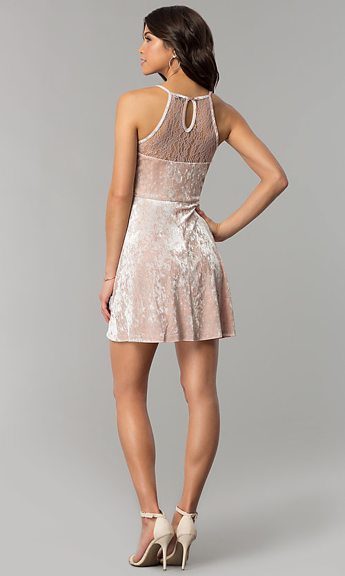 Image of mauve pink velvet short wedding-guest party dress. Style: AS-A7616449 Detail Image 3