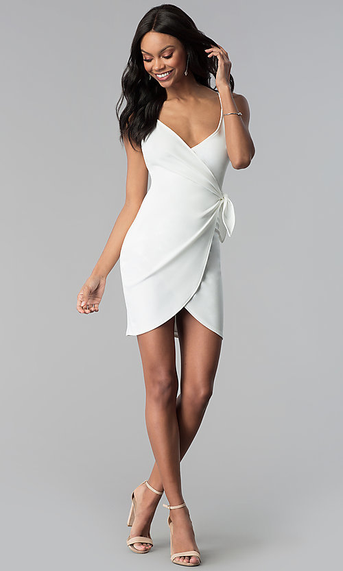 Image of short white graduation wrap-style party dress. Style: BLU-BD8615-1W Detail Image 3