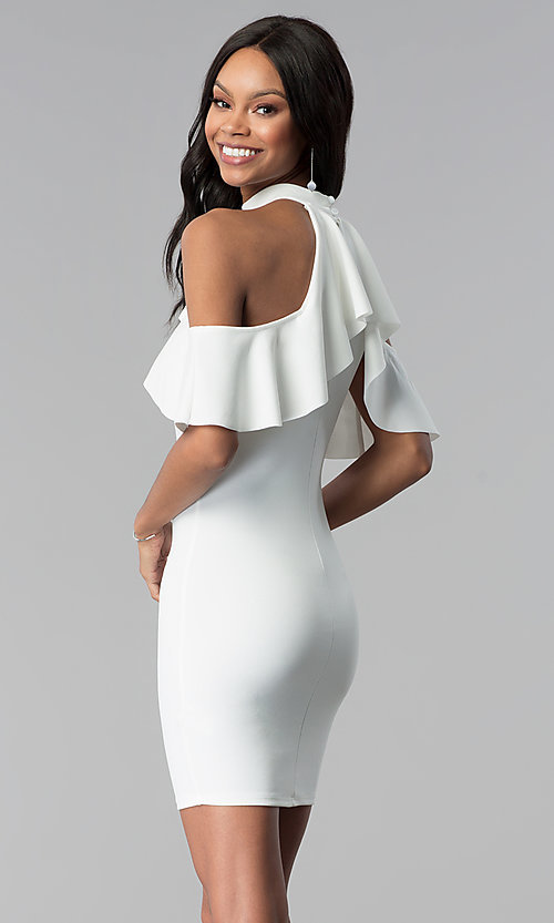Image of short white graduation party dress with flounce. Style: BLU-BD8527W Back Image