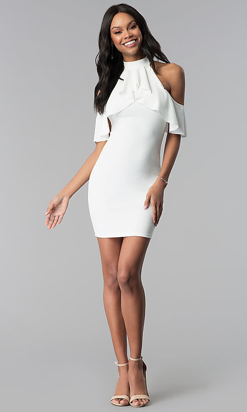 Image of short white graduation party dress with flounce. Style: BLU-BD8527W Detail Image 3