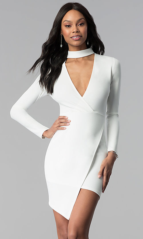 Image of long-sleeve short white graduation party dress. Style: BLU-BD8383W Front Image