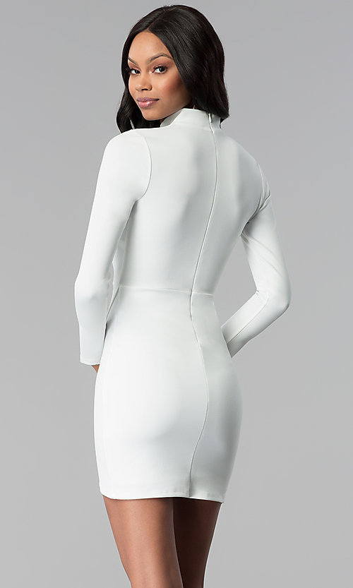 Image of long-sleeve short white graduation party dress. Style: BLU-BD8383W Back Image