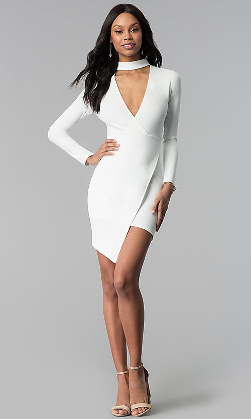 Image of long-sleeve short white graduation party dress. Style: BLU-BD8383W Detail Image 3