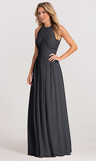 Ruched High-Neck Chiffon Open-Back Gown