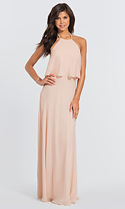 Image of #LEVKOFF long popover halter bridesmaid dress. Style: BLF-L-7006 Detail Image 1