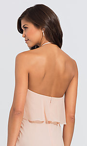 Image of #LEVKOFF long popover halter bridesmaid dress. Style: BLF-L-7006 Detail Image 3
