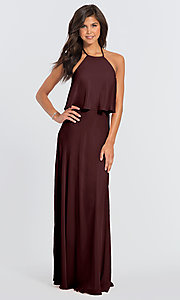 Image of #LEVKOFF long popover halter bridesmaid dress. Style: BLF-L-7006 Detail Image 5