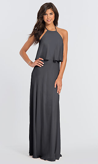 #LEVKOFF Long Popover Halter Bridesmaid Dress