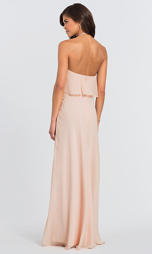 Image of #LEVKOFF long popover halter bridesmaid dress. Style: BLF-L-7006 Back Image