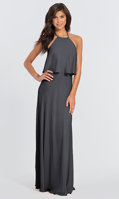 Image of #LEVKOFF long popover halter bridesmaid dress. Style: BLF-L-7006 Front Image