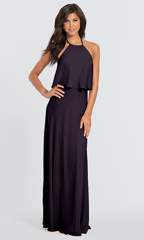 Image of #LEVKOFF long popover halter bridesmaid dress. Style: BLF-L-7006 Detail Image 4