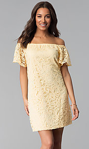 Image of yellow lace wedding-guest shift off-shoulder dress. Style: JU-TI-T1056 Front Image
