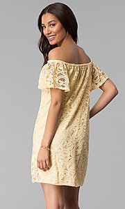 Image of yellow lace wedding-guest shift off-shoulder dress. Style: JU-TI-T1056 Back Image