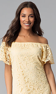 Image of yellow lace wedding-guest shift off-shoulder dress. Style: JU-TI-T1056 Detail Image 1
